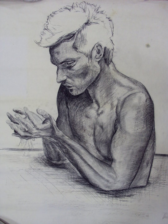 <strong>A study by photographs, charcoal, 2013</strong>