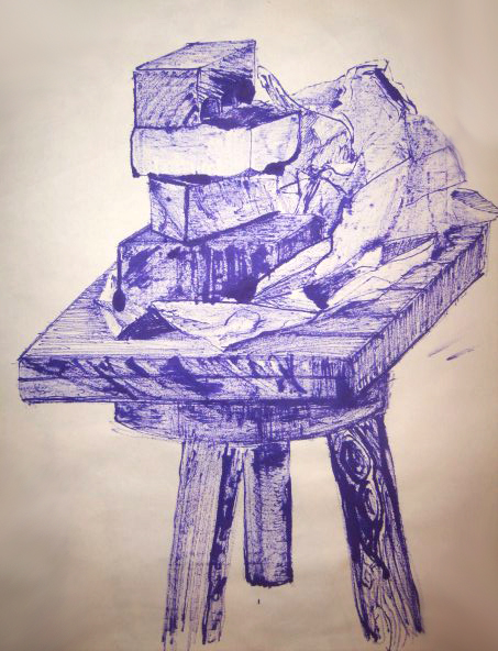 <strong>The study still life, ink on paper, 2012</strong>