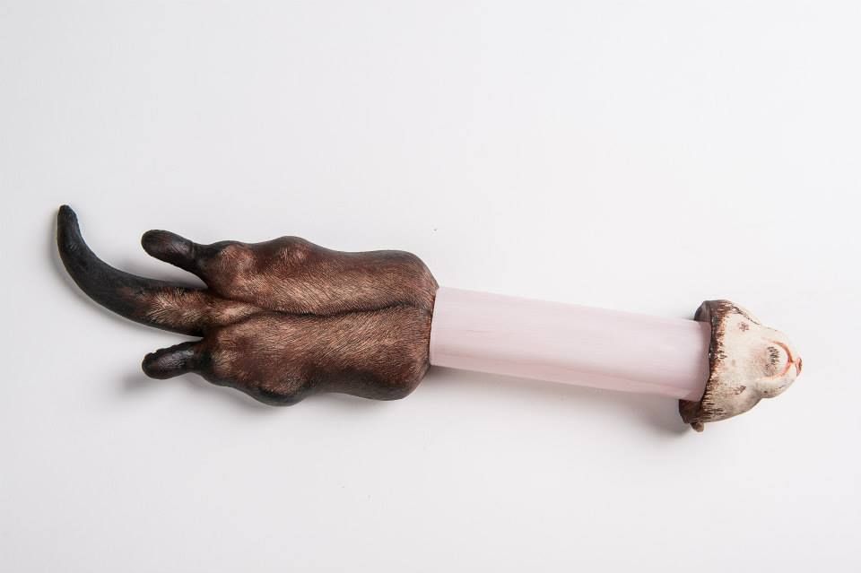 <strong>Ferret in tube, ceramics and glass, 2013</strong>