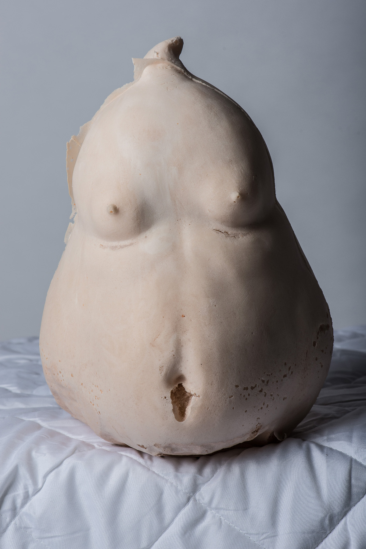 <strong>Torso, polyurethane foam, 2014</strong><br />This work is about the effects of institutions and individuals. That is they always somehow influenced and shaped like an empty vessel. These are changes that can affect individuals both inside and physiologically.